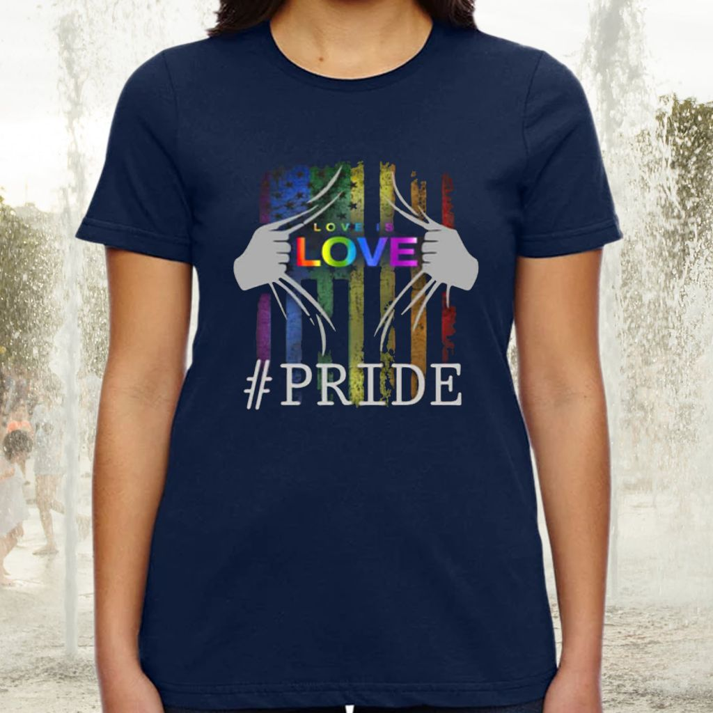 LGBT Love Is Love Rainbow Flag American Flag LGBTQ Gay Pride T-shirt