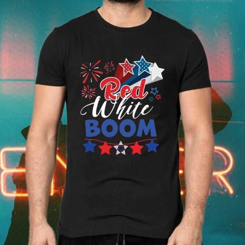 Red White Boom Patriotic American Flag Tee-Shirt