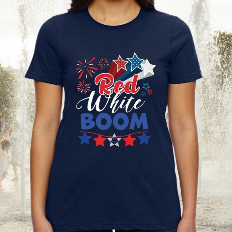 Red White Boom Patriotic American Flag Tee-Shirts
