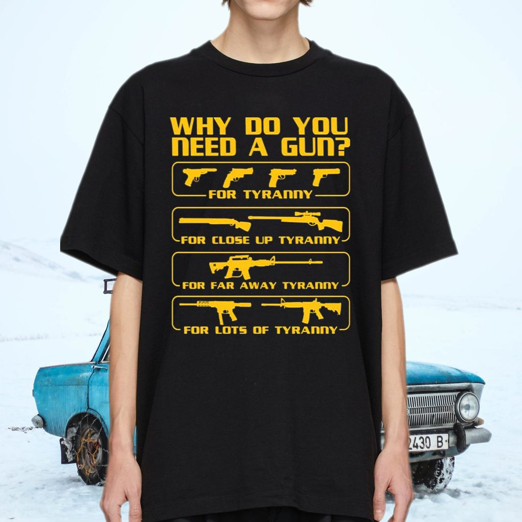 Why You Need A Gun Print On Back Only Shirt