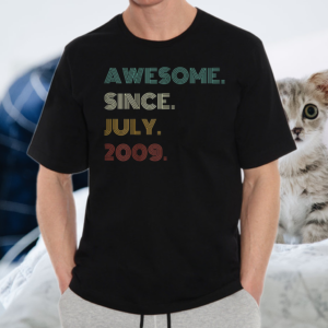 12th Birthday Awesome Since July 2009 12 Year Old Boys Girls T-Shirt