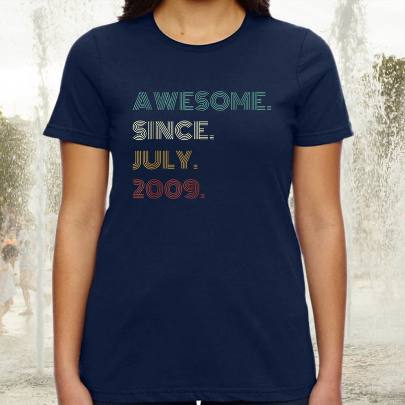 12th Birthday Awesome Since July 2009 12 Year Old Boys Girls Tee-Shirt
