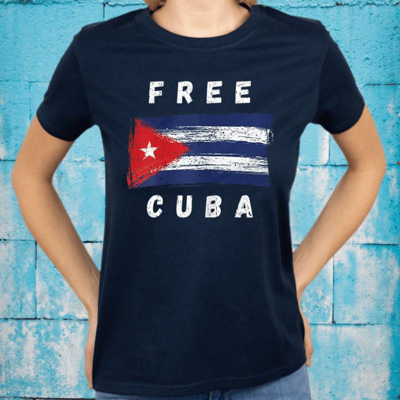 Free Cuba Retro Cuban Flag Shirt