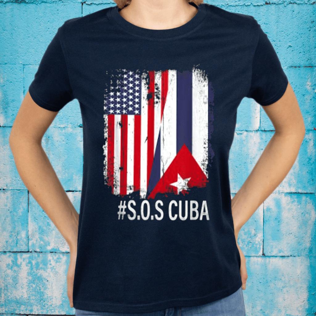 Half American Cuban Flag Sos Cuba Vintage men women T-Shirt
