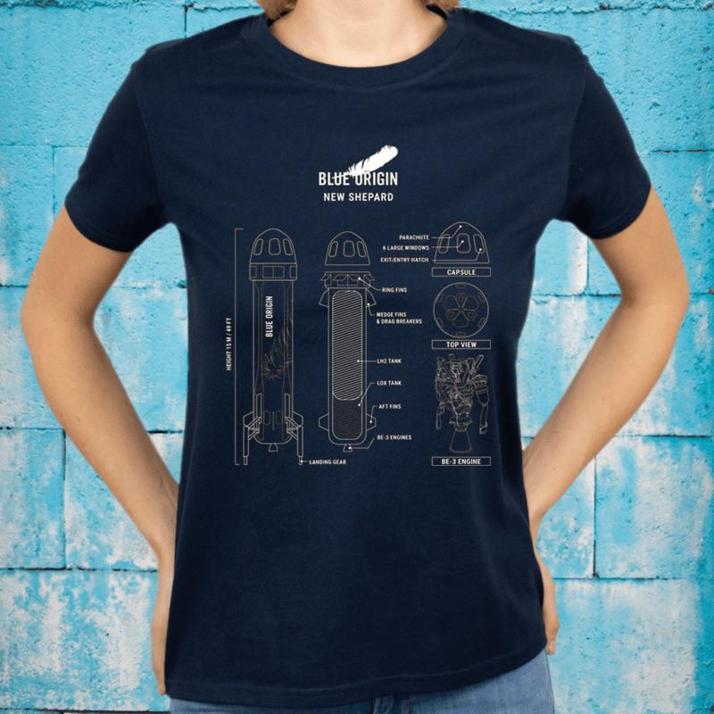 New Shepard Rocket Blueprint T-Shirts