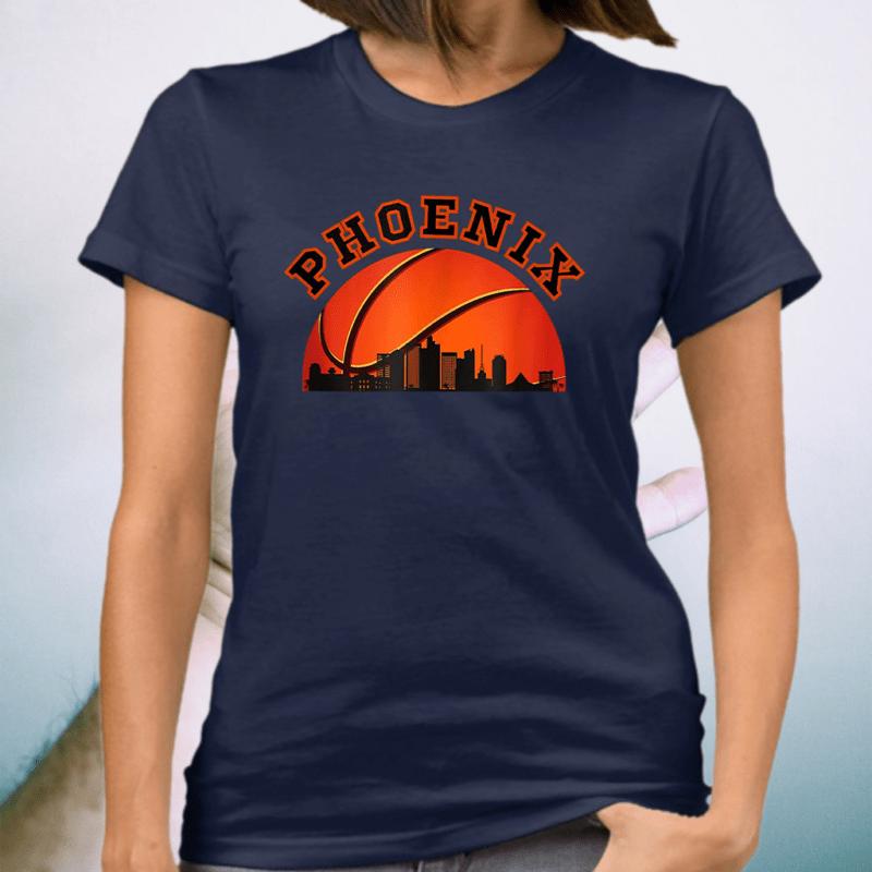 Phoenix AZ Cityscape Retro Sun - Basketball Fans T-Shirt