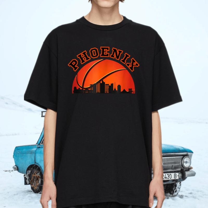 Phoenix AZ Cityscape Retro Sun - Basketball Fans T-Shirts