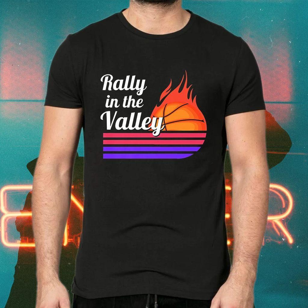 Rally In The Valley Phoenix Flaming Basketball Retro Sunset Premium T-Shirt