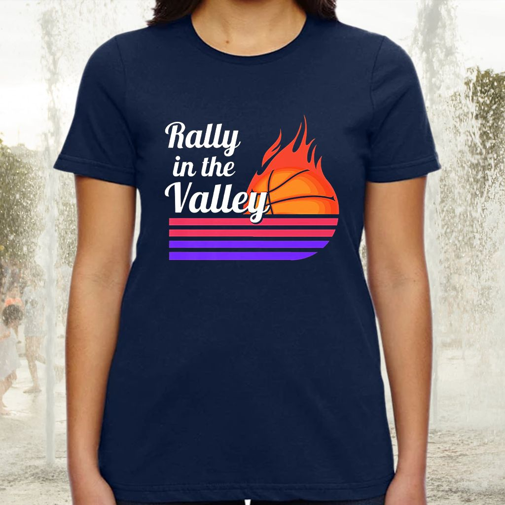 Rally In The Valley Phoenix Flaming Basketball Retro Sunset Premium T-Shirts