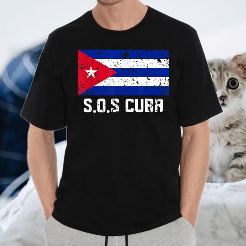 SOS Cuba El cambio es ya Abajo la Dictadura Bandera Cubana T-Shirt
