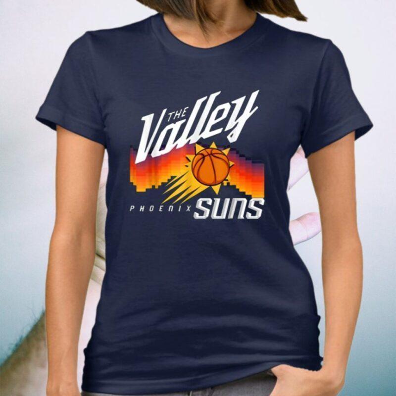 The Valley-Oop Phoenix-Basketball, Retro Sunset Basketball Tee-Shirt