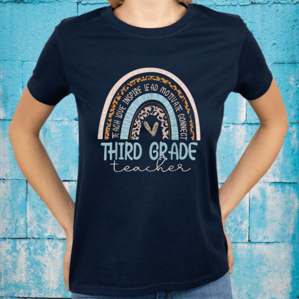 Third Grade Teacher Leopard Rainbow T-Shirts
