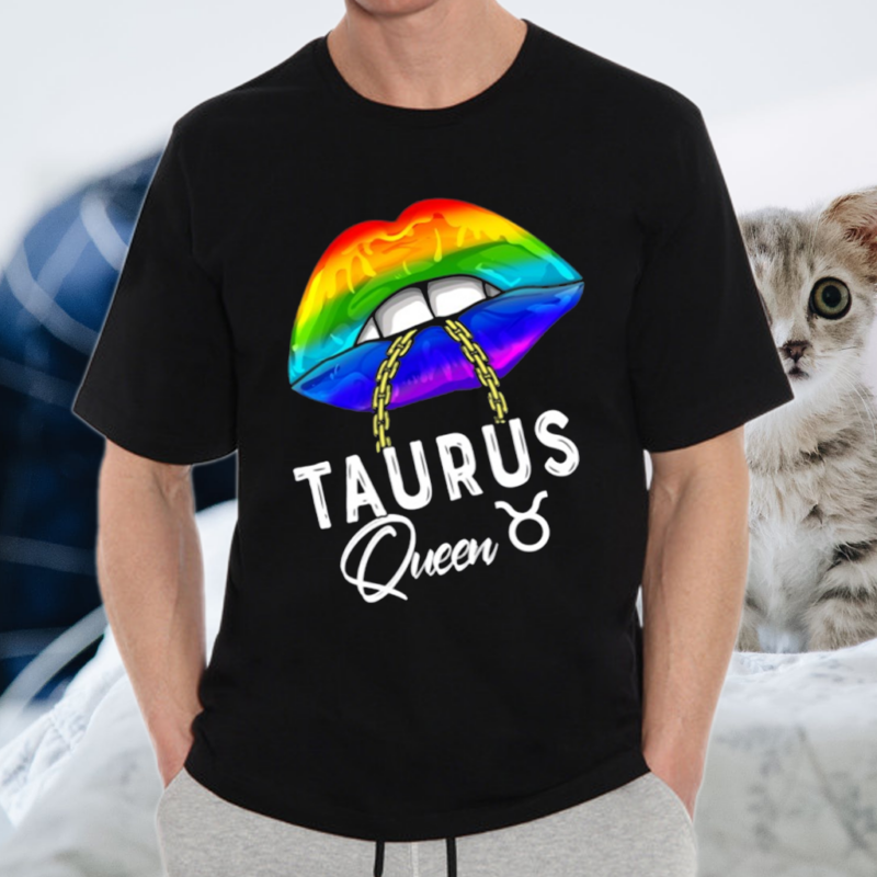 Lgbtq Taurus Queen Lips Zodiac Rainbow Gay Pride Flag Shirt