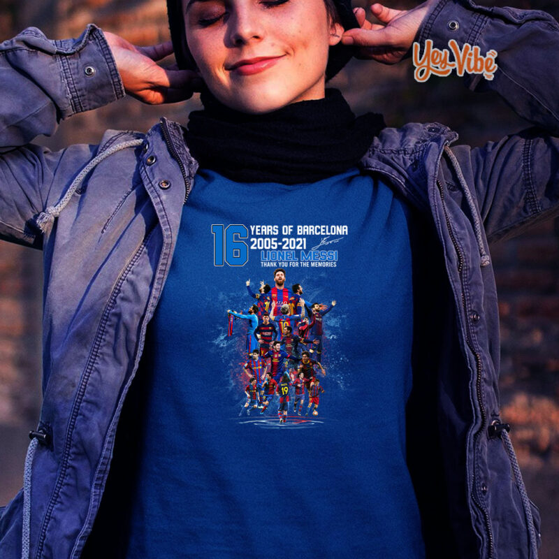 Messi 21 years of Barca 2000 2021 thank you for the memories t-shirt